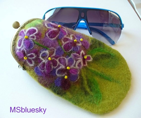 Wet Felted FLOWER Violets Eyeglasses Case Ready to Ship with bag frame metal closure garden  handmade Christmas gift for her under 50 USD