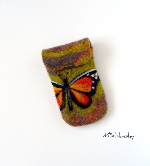 Wet Felted  BUTTERFLY Felt Case Cell Phone Ready to Ship  handmade Perfect Valentines Gift under 50 USD