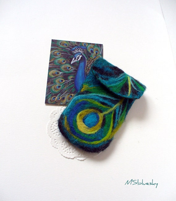 Wet Felted Peacock feather  Felt Case Cell Phone Ready to Ship  handmade Perfect  Gift under 50 USD