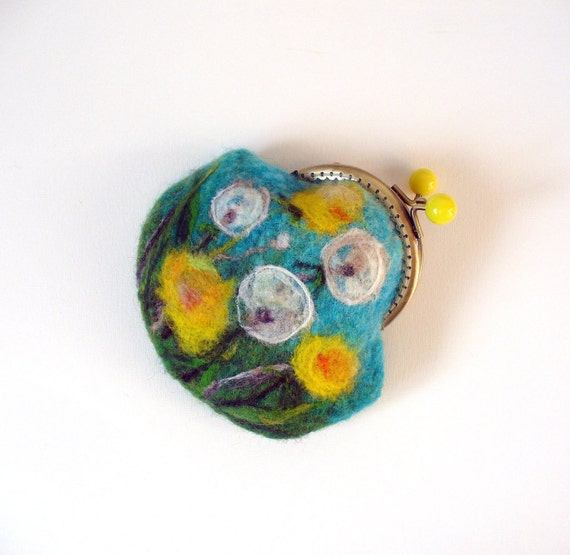 Wet Felted dandelions FLOWER coin purse Ready to Ship with bag frame metal closure Handmade  gift for her under 50 USD