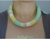 Spring Crochet Tube Necklace;Satin Ribbon;yellow;mint;unique;Natural Fiber