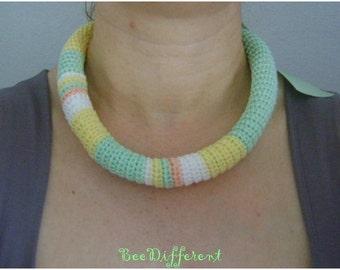 Spring Crochet Tube Necklace;Satin Ribbon;yellow;mint;unique;Natural Fiber