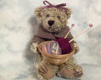 Knitting Bear dipped in scented soy candle wax