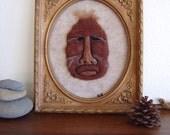 Framed Bigfoot portrait needle felted