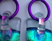 dichroic green fused glass dangle earrings