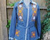 SALE------Vintage Denim Embroidered Jacket Shirt