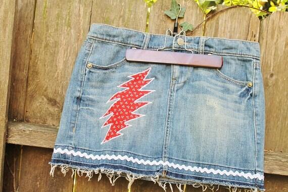 SALE------Grateful Dead Upcycled Denim Mini Skirt 4th of July Grateful Dead Bolt