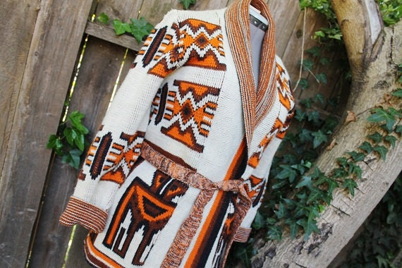 Vintage Sabra Wintuk Heavy Acrylic Wrap Sweater