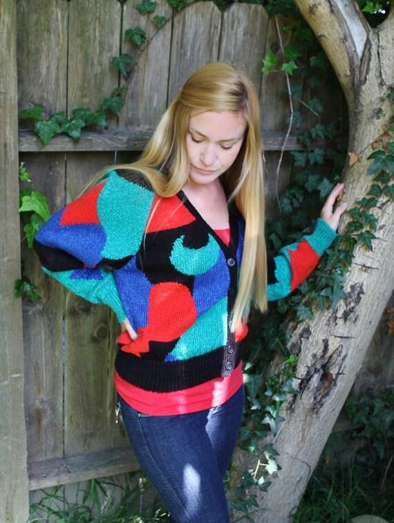 SALE------90s sweater vintage sweater color block sweater womens sweater cardigan sweater
