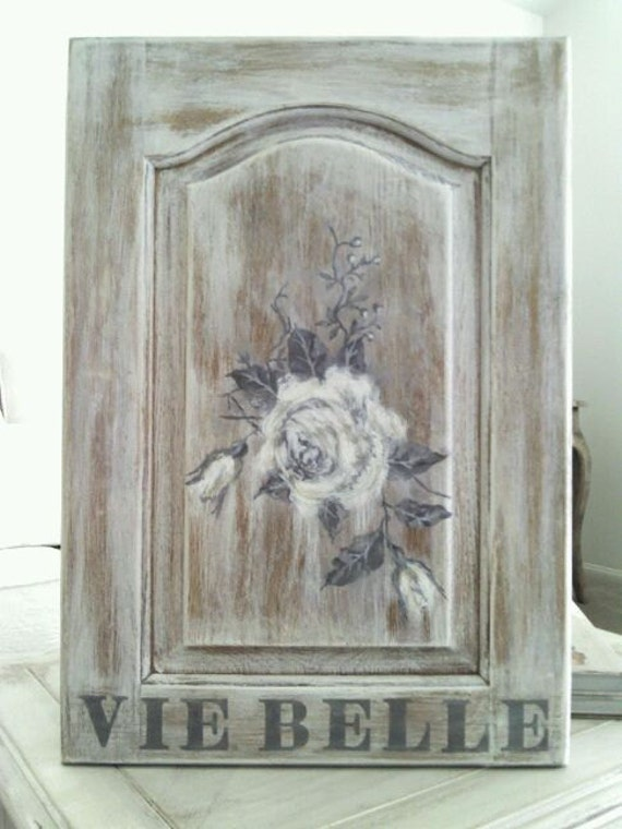 """SALE...French SIGN Hand Painted...White Rose,  """"Beautiful Life"""", Vintage wood door, GREY/White"""