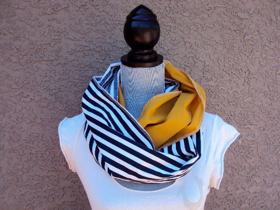 Antique Gold and...Sailor Stripes in navy and white Infinity scarf