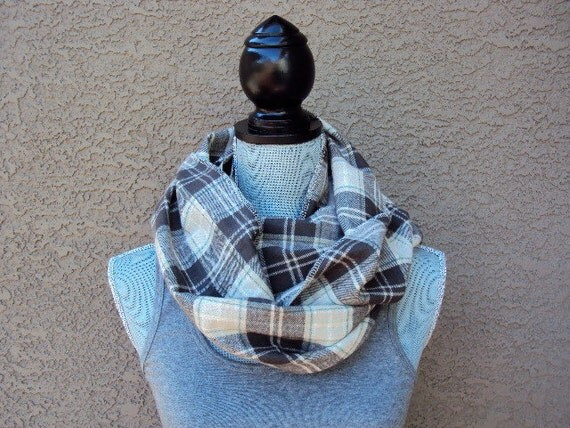 Man-Finity Scarf in Chocolate/Taupe/Forest Flannel