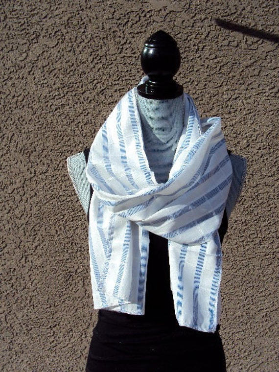 Classic White and Cornflower Blue Extra Long Scarf