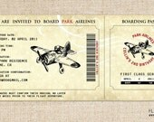 Vintage Airplane Invitation (Boarding Pass Style) for a Birthday Party or Shower by FLIPAWOO - Customized Printable File