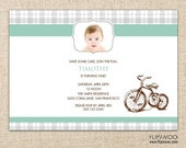 Gingham or Plaid Designed Airplane, Tricycle, or Rocking Horse Party Invitation by FLIPAWOO - Customized Printable File