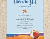 Beach Birthday Party Invitation - Beach Ball and Starfish - by FLIPAWOO - Customized Printable File