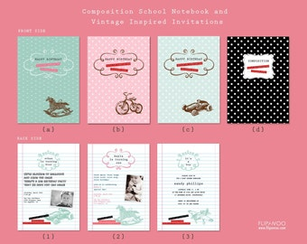 Back To School Composition Vintage Notebook Invitation by FLIPAWOO - Customized Printable File with Backside Design