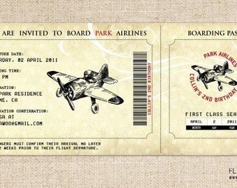 Vintage Airplane Birthday Invitation, Airplane Boarding Pass Invitation, Printable Airplane Invitation, Vintage Airplane Ticket Invitation