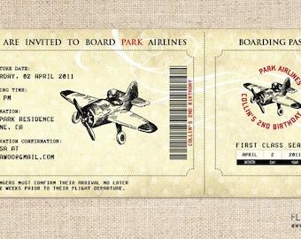Vintage Airplane Birthday Invitation, Airplane Boarding Pass Invitation, Printable Airplane Invitation, Vintage Airplane Ticket Invitation