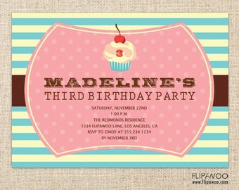 Cupcake Birthday Invitation Design by FLIPAWOO - Customized Printable File