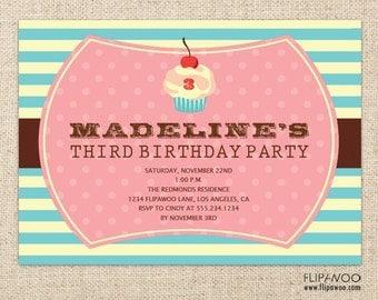 Cupcake Birthday Invitation Design by FLIPAWOO - Customized Printable File