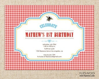 Picnic Bee Invitation Design, Picnic Birthday Invitation, Shower Picnic Invitation, Picnic Printable Invitation