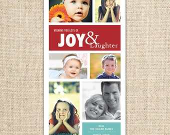 Christmas Holiday Photo Collage Card - Wishing Joy & Laughter - Customized Printable by FLIPAWOO