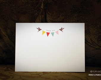 Pennant Banner Thank You Note Cards -  Flat Prints by FLIPAWOO