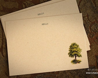 Hello Note Cards with Green Tree -  Flat Prints by FLIPAWOO
