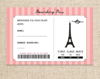 Paris Boarding Pass RSVP Card Design by FLIPAWOO - Passport to Paris Collection - Customized Printable File