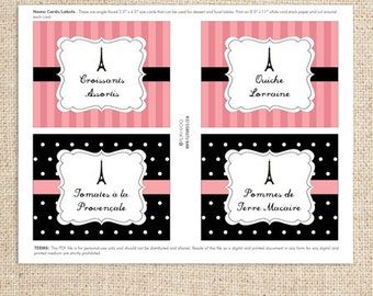 Paris Text Editable Food or Label Cards by FLIPAWOO - Passport to Paris Collection - Instant Download Printable PDF File