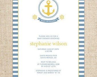 Nautical Birthday or Shower Invitation, Sailboat Invitation, Anchor Birthday Invitation, Nautical Photo Birthday Invitation, Nautical Printa