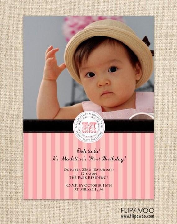 Paris Photo Birthday or Shower Invitation by FLIPAWOO - Customized Printable File