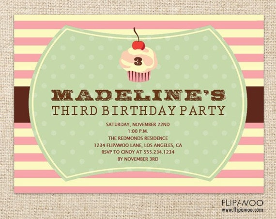 Cupcake Birthday Invitation, Birthday Party Cupcake Invitation, Customized Printable File