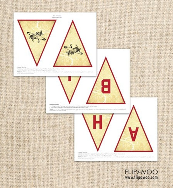 Vintage Airplane Pennant Banner by FLIPAWOO - Instant Download Printable PDF File