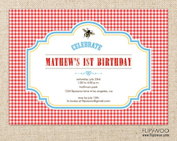 Items Similar To Picnic Bee Invitation Design Picnic Birthday