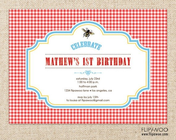 Items Similar To Picnic Bee Invitation Design, Picnic Birthday