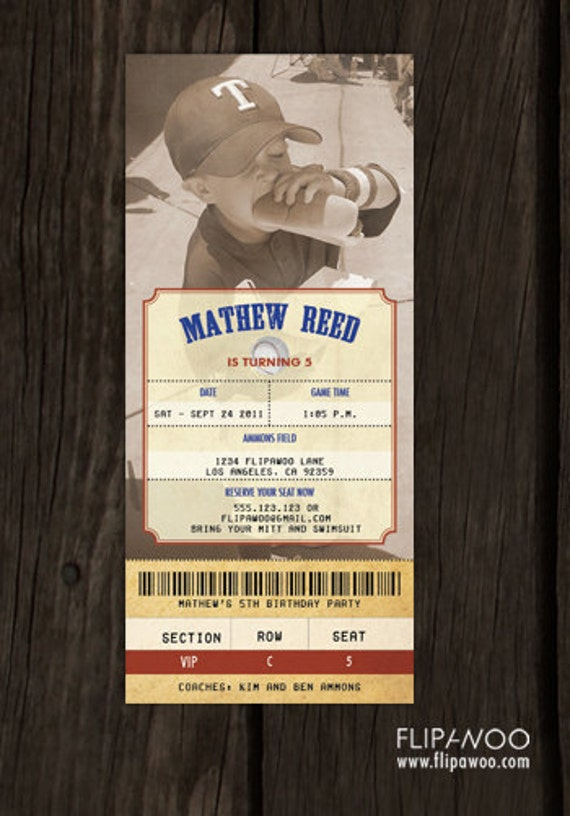 Vintage Baseball Ticket Invitation with Photo for a Birthday Party by FLIPAWOO - Customized Printable File