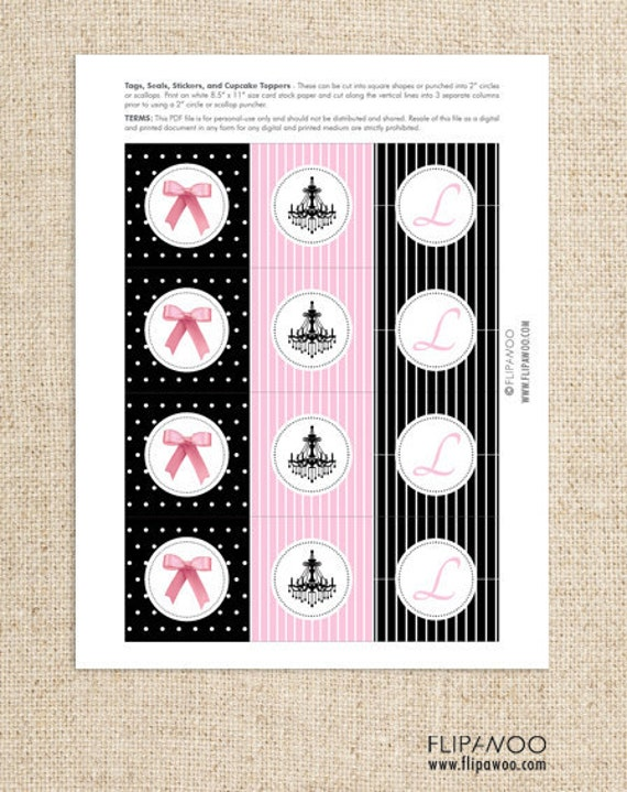 Paris-Themed Cupcake Toppers, Tags, and/or Labels by FLIPAWOO - A Night in Paris Collection - Customized Printable File