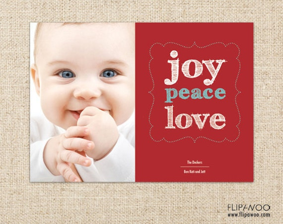 Christmas Photo Card - Joy, Peace, Love Dotted Frame and Sketchy Text - Customized Printable by FLIPAWOO