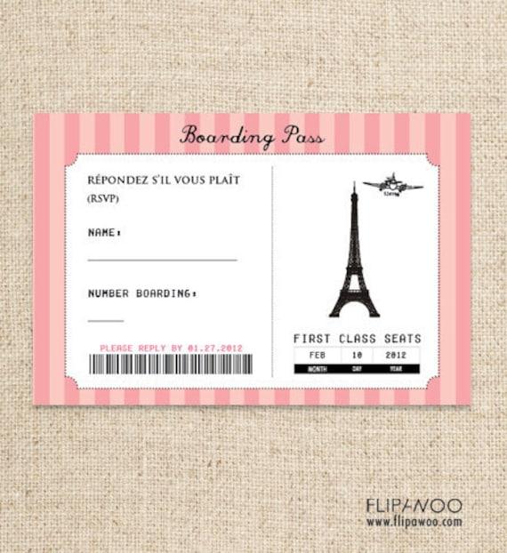 Paris Boarding Pass RSVP Card Design by FLIPAWOO Passport to
