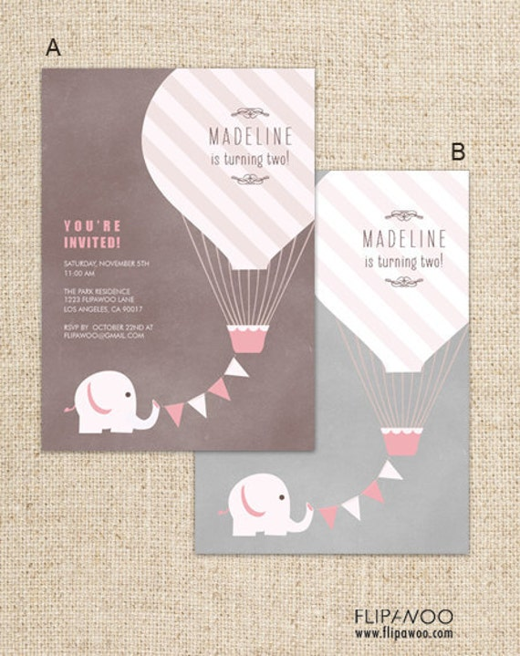 Elephant with Hot Air Balloon Birthday Party Invitation, Elephant Party Invitation  - Customized Printable File