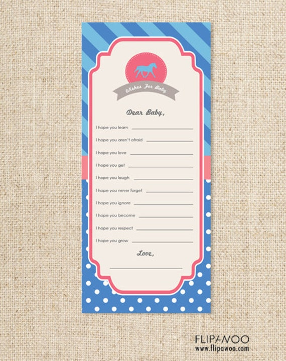 Horse Pony Western Cowgirl Advice Card for a Baby Shower by FLIPAWOO  - Printable PDF File