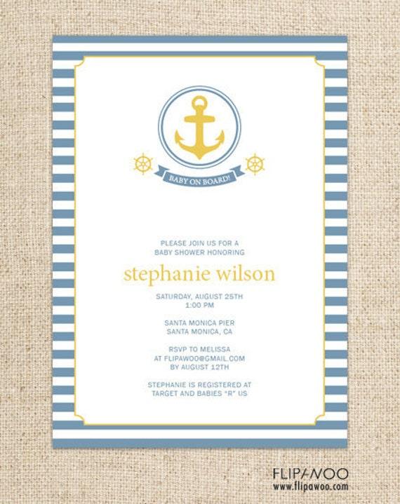 Nautical Birthday or Shower Invitation, Sailboat Invitation, Anchor Birthday Invitation, Nautical Photo Birthday Invitation, Nautical Printa