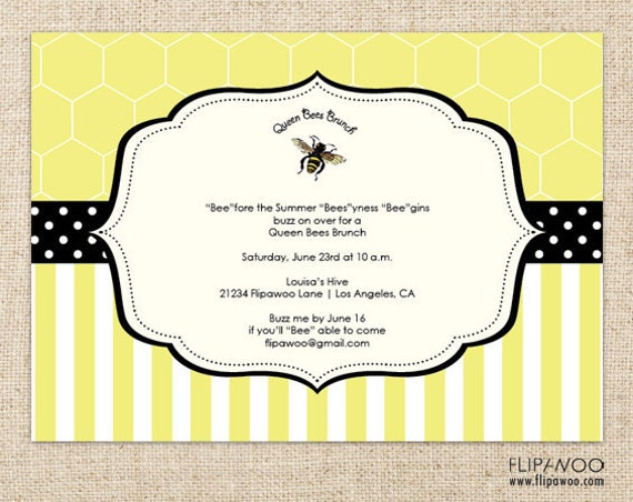 items similar to bee-themed shower, brunch or birthday party, Birthday invitations