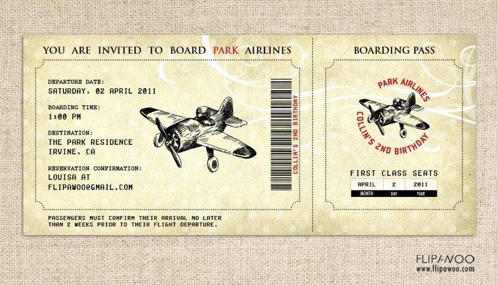 vintage airplane birthday invitation airplane boarding pass