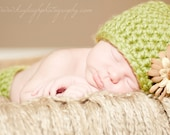 Newborn beanie hat and diaper cover Photography prop for baby green summertime flower