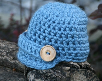 Newsboy baby hat visor brim beanie in blue newborn size photography prop ready to ship item