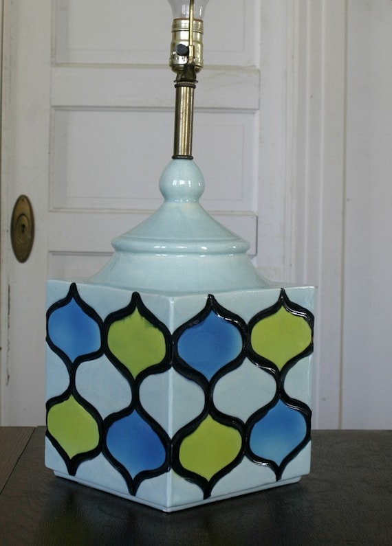 Vintage Square Lime Green and Blue Table Lamp Modern