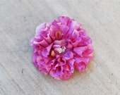 Lavender Dahlia Flower Hair Clip w/ Rhinestone Crystal Center- Medium